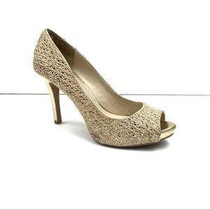 Audrey Brooke Quillan Gold Peep Toe Pumps Size 8.5
